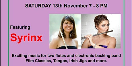 Free concert for two flutes with electronic backing band in Balham London tickets