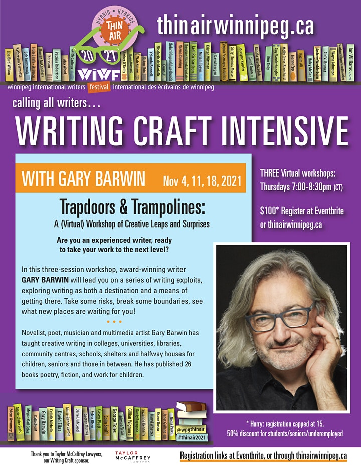 THIN AIR 2021 Writing Craft Intensive : Gary Barwin image