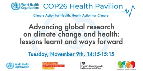 Advancing global research on climate change and health tickets