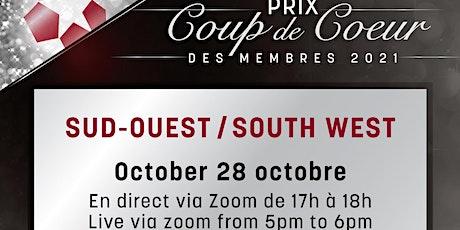 Prix Coup de cœur du Sud-Ouest (virtuel) billets