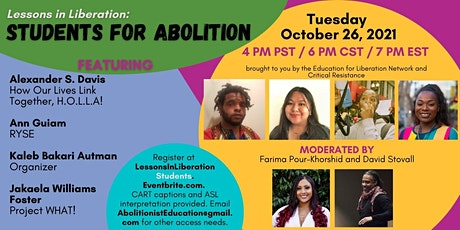 Lessons in Liberation: Students for Abolition tickets