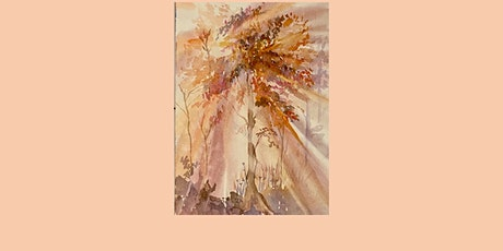 LIVE ART CLASS Sunlit Trees watercolour workshop. learn to paint. alllevels tickets