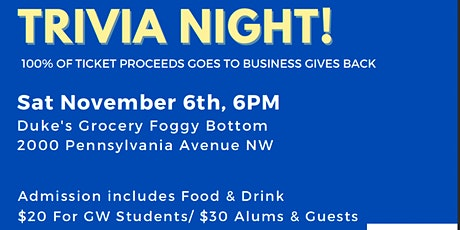 GWU MBAA Hosts Trivia Night for Business Gives Back tickets