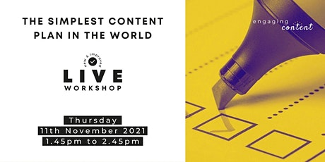 The Simplest Content Plan In The World - create online content with ease tickets