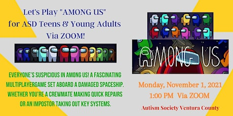 """Virtual """"Among Us"""" Game Hour for ASD  Teens and Young Adults tickets"""