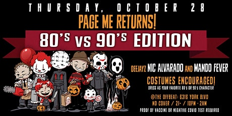 Page Me! 90s vs 80s edition tickets