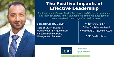 IMA ANZ Chapter presents: The Positive Impacts of Effective Leadership tickets