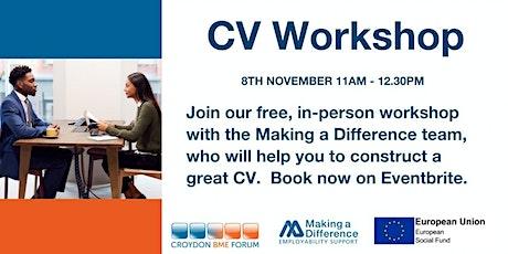 CV Workshop tickets