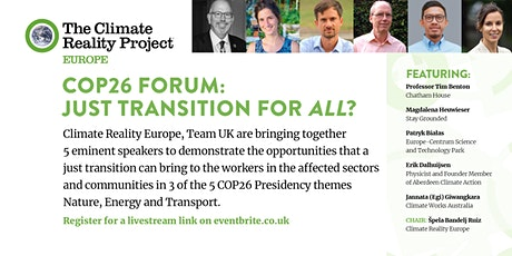 COP26 Forum: Just Transition for All? (Virtual) tickets