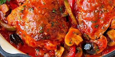 Crispy  Chicken Thighs w/ Cacciatore Sauce AND Nutella Cannoli