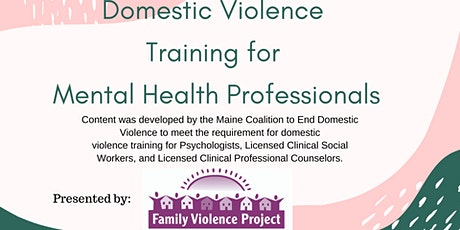 Domestic Violence Training for Mental Health Professionals tickets
