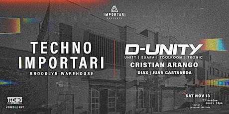 Techno IMPORTARI Brooklyn Warehouse: D-Unity & Cristian Arango, NYC tickets