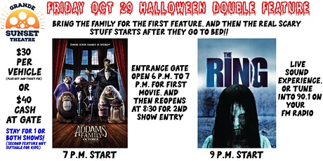 Halloween weekend double feature- Family feature/Adult horror tickets
