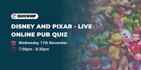 Disney and Pixar - Unofficial Live Online Pub Quiz tickets