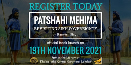 London Book Launch of 'Patshahi Mehima - Revisiting Sikh Sovereignty' tickets