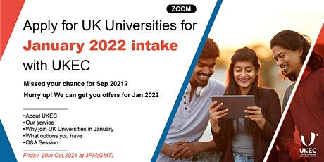 Apply for UK Universities for January 2022 intake with UKEC tickets