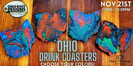 Custom Ohio Drink Coasters   Paint Pouring Workshop! tickets