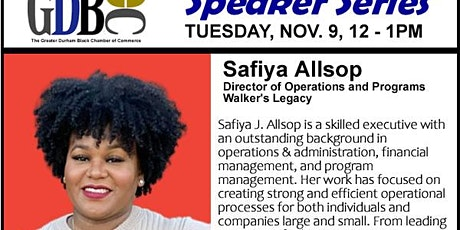 GDBCC Speaker Series presents Safiya Allsop of Walker's Legacy tickets