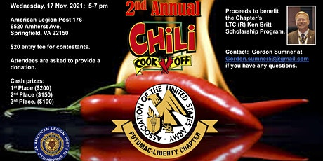 AUSA Potomac-Liberty Chapter 2nd Annual Chili CookOff tickets
