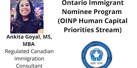 Ontario Immigrant Nominee Program (OINP) tickets