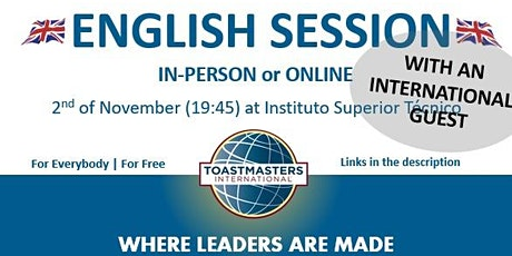 Lisbon Toastmasters - English session with International Guest! 02/11/2021 tickets