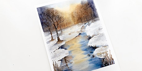 Watercolour Painting: Winter Wonderland Wooden Cabin tickets