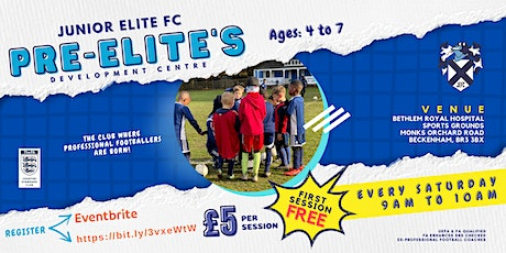 Pre-Elites Football Sessions. (Ages 4-7 year olds) tickets