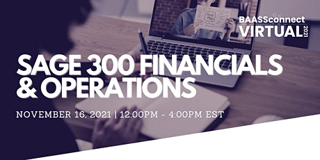 BAASS Connect Virtual 2021 | Sage 300 Financials and Operations tickets