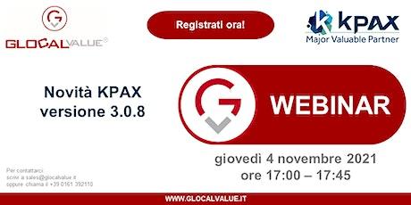 KPAX: Webinar novità versione 3.0.8 tickets