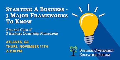 Starting a Business Webinar - 3 Major Frameworks to Know entradas
