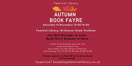 Feminist Library Autumn Book Fayre tickets