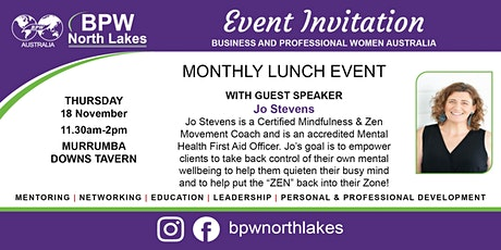 BPW North Lakes November Lunch with Guest Speaker Jo Stevens tickets