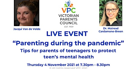 VPC Live -Parenting during the pandemic -tips to protect teen mental health tickets