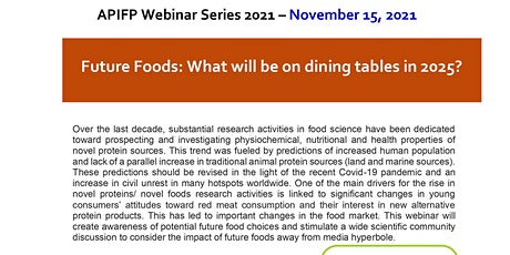 APIFP FREE Webinar - Future Foods: What will be on dining tables in 2025? tickets