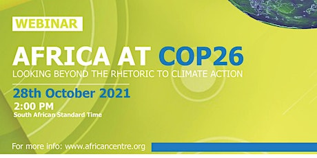 Africa and COP26 : Looking beyond the rhetoric to climate action tickets