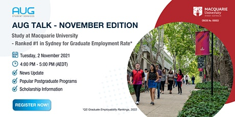 [AUG Talk] Macquarie University - Ranked #1 in the Sydney for Employability tickets