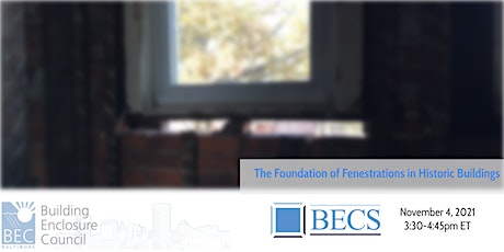 The Foundations of Fenestrations in Historic Buildings tickets