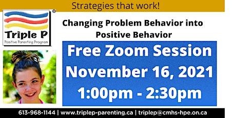 Triple P - Changing Problem Behaviour into Positive Behaviour tickets