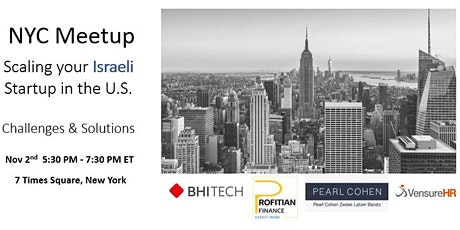 Scaling your Israeli Startup in the U.S. - Challenges and Solutions tickets