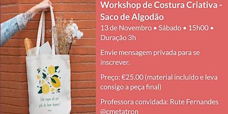 Workshop de costura criativa - Tote bag bilhetes