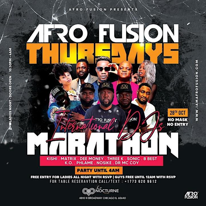 Afrofusion Thursdays : Afrobeats, Hiphop, Dancehall, Soca (Free Entry) image