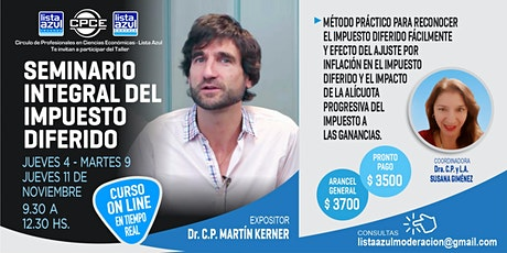 SEMINARIO INTEGRAL IMPUESTO. DIFERIDO DE 3 CLASES CON MARTIN KERNER entradas