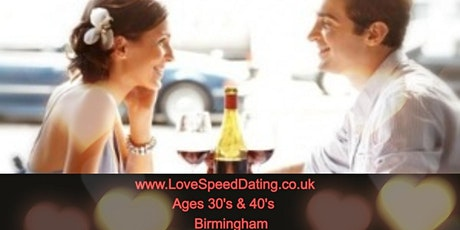 Speed Dating Singles Night Birmingham Ages 30's and 40's tickets