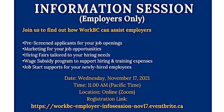 WorkBC Information Session (for Employers) - Nov 17 @ 11am tickets