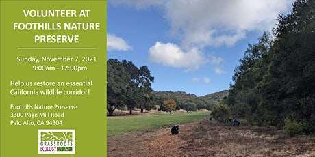 Volunteer Outdoors in Palo Alto at Foothills Nature Preserve tickets