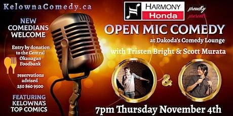 Harmony Honda presents Open Mic Comedy at the Central Okanagan Food Bank tickets