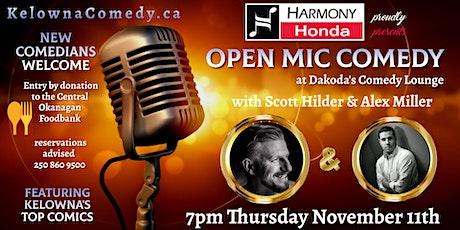 Harmony Honda present Open Mic Comedy for the Central Okanagan Food Bank tickets