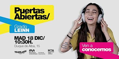 LEINN/ PUERTAS ABIERTAS MADRID [18 DIC | 10H30] entradas