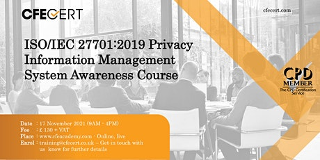 ISO/IEC 27701:2019 Privacy Information Management System Awareness Course tickets