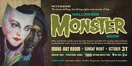 Halloween Monster Show Costume Party • Sunday October 31 • Make-Out Room tickets